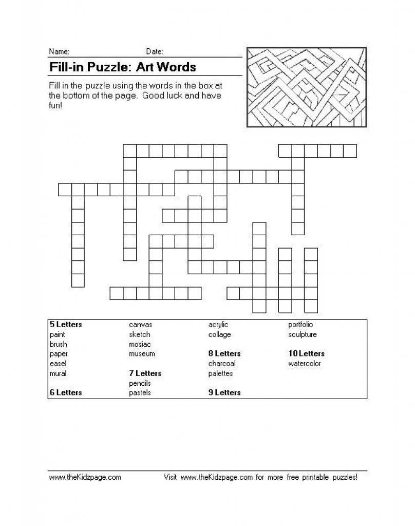 Fill-In Puzzle: Art Words - Free Printable Learning Activities For - Free Printable Word Winks