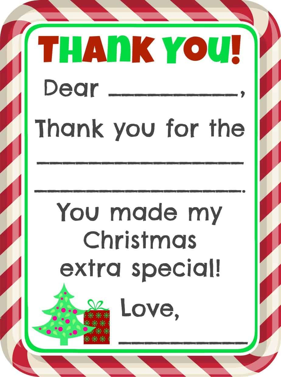 Fill-In-The-Blank Christmas Thank You Cards Free Printable - Christmas Thank You Cards Printable Free