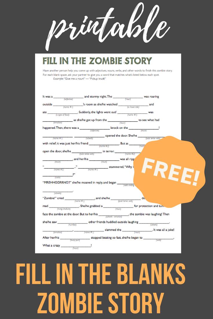 Fill In The Zombie Story   School - Halloween   Pinterest - Kwanzaa Trivia Free Printable