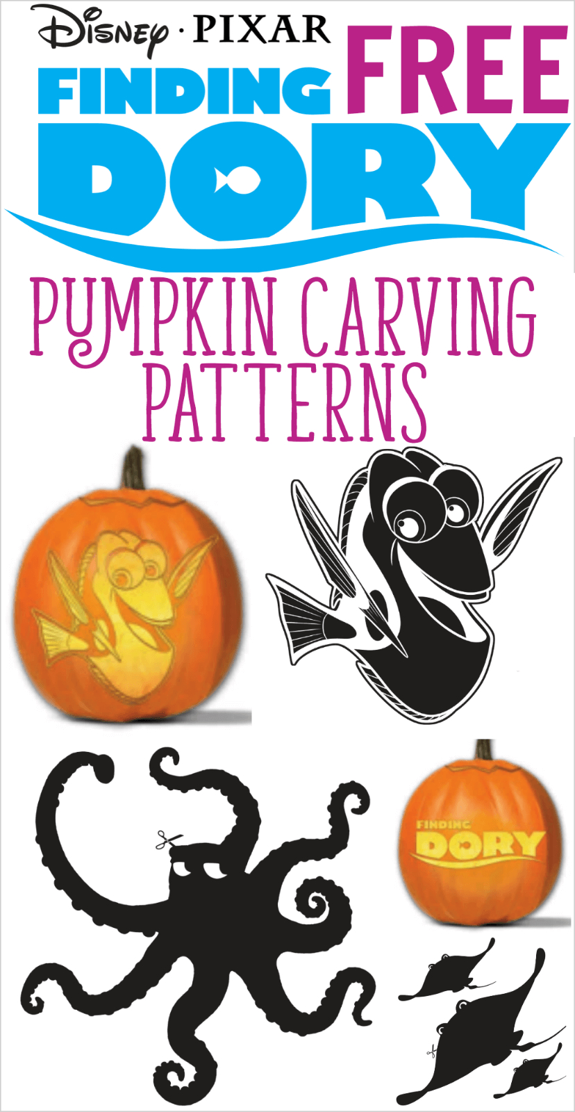 Finding Dory Pumpkin Carving Patterns And Stencils | All Things - Pumpkin Carving Patterns Free Printable