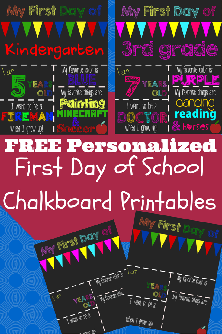 First Day Of School Printable Chalkboard Sign | School | Pinterest - First Day Of Kindergarten Sign Free Printable