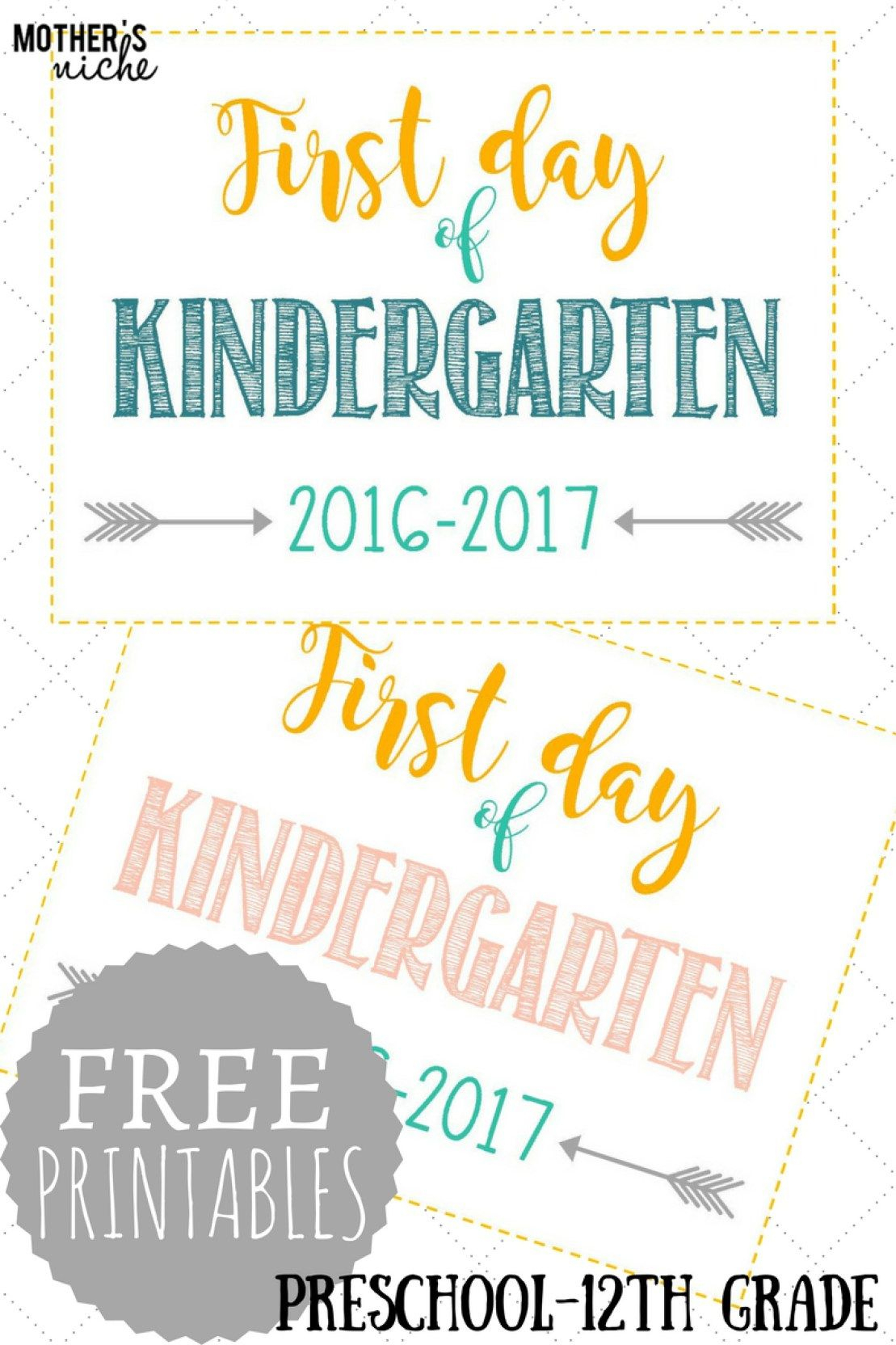First Day Of School Signs: Free Printables *pre-School- 12Th Grade - Free Printable First Day Of School Signs 2017