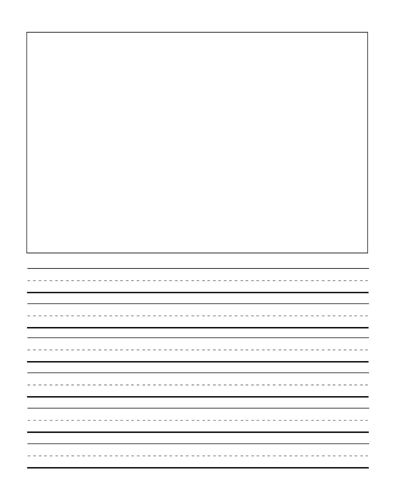 First Grade Writng Paper Template With Picture   Journal Writing - Elementary Lined Paper Printable Free