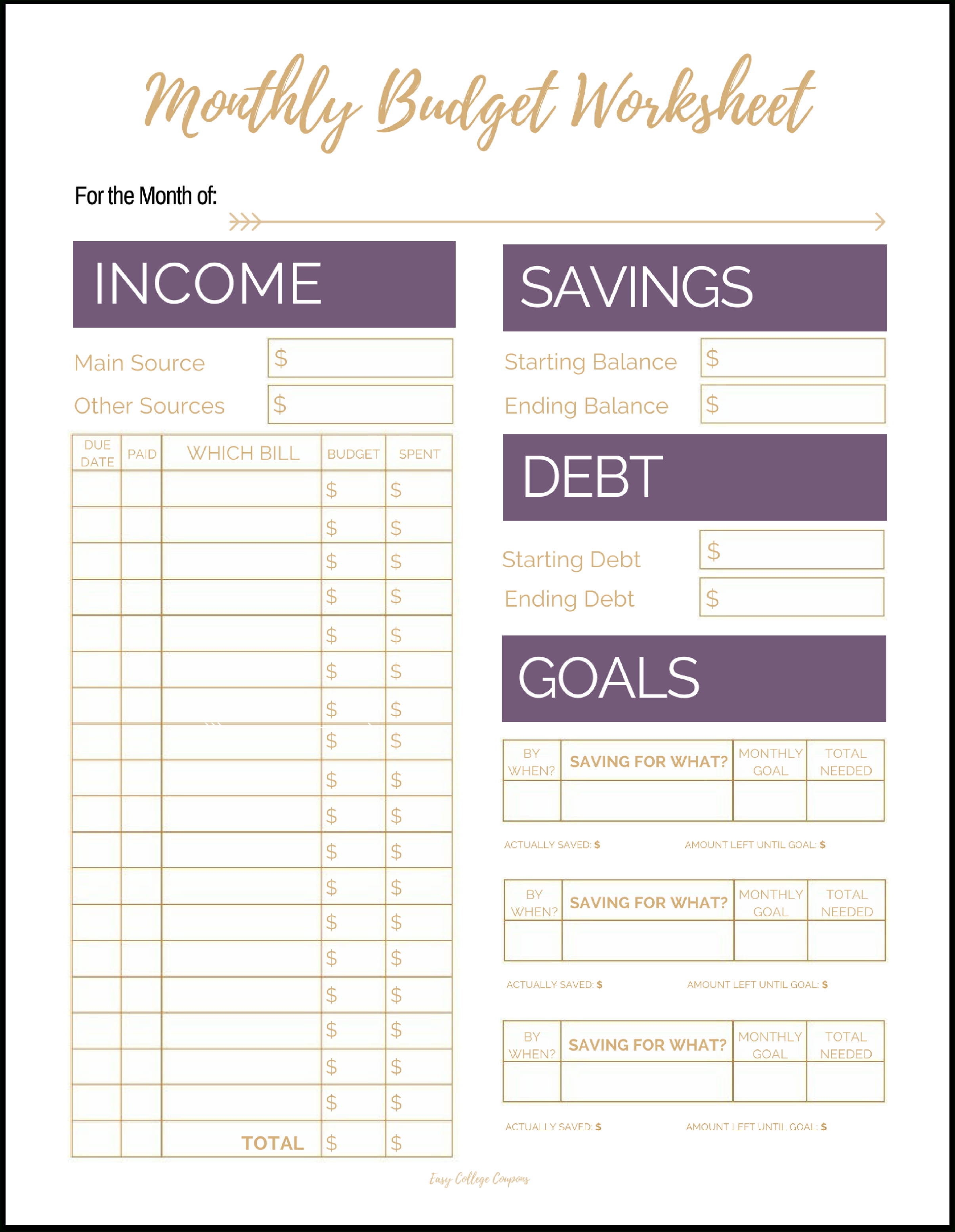 Fix Your Finances Asap With My (Free) Simple Monthly Budget Template - Free Budget Printable Template