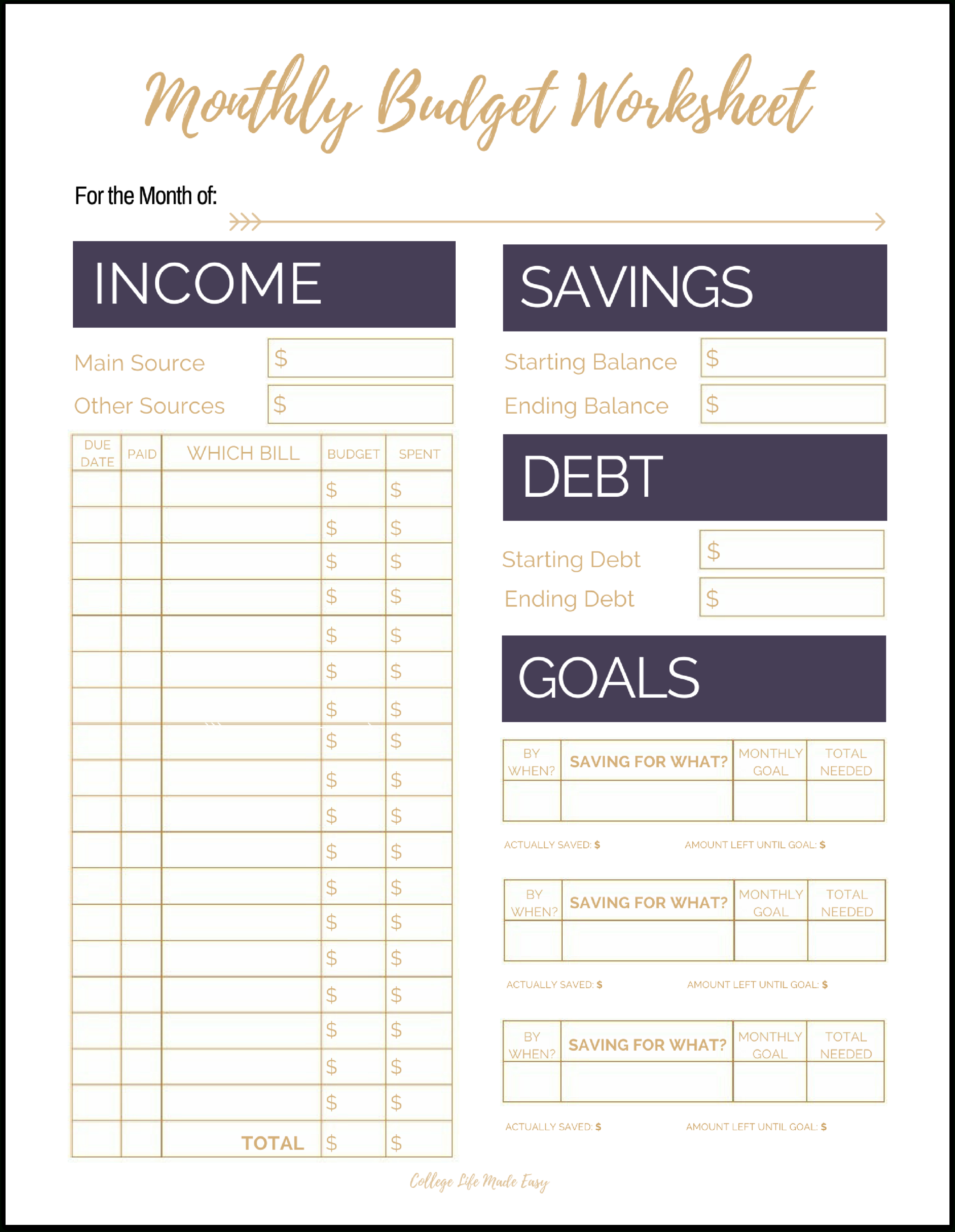Fix Your Finances Asap With My (Free) Simple Monthly Budget Template - Free Printable Budget Sheets