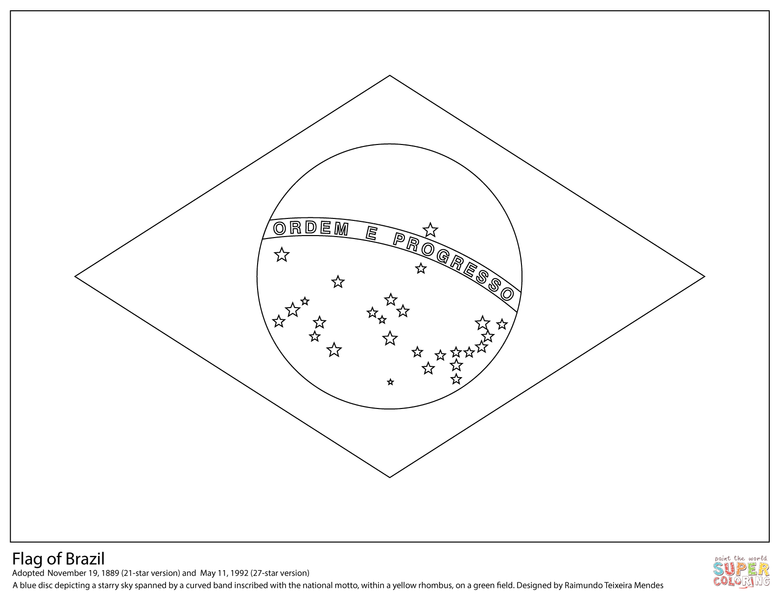 Flag Of Brazil Coloring Page   Free Printable Coloring Pages - Free Printable Blank Flag Template