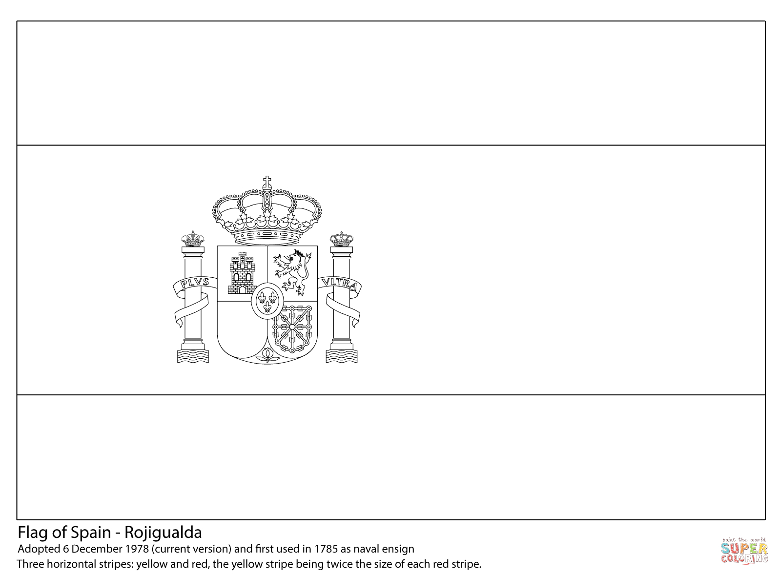 Flag Of Spain Coloring Page   Free Printable Coloring Pages - Free Printable Blank Flag Template