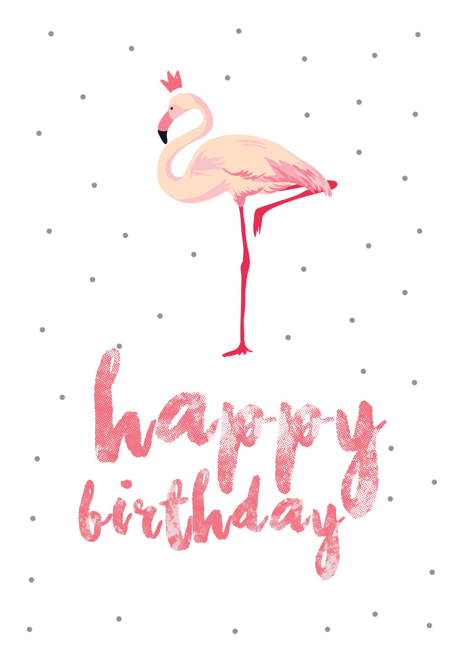 Flamingo Birthday - Free Printable Birthday Card   Greetings Island - Free Printable Greeting Cards No Sign Up