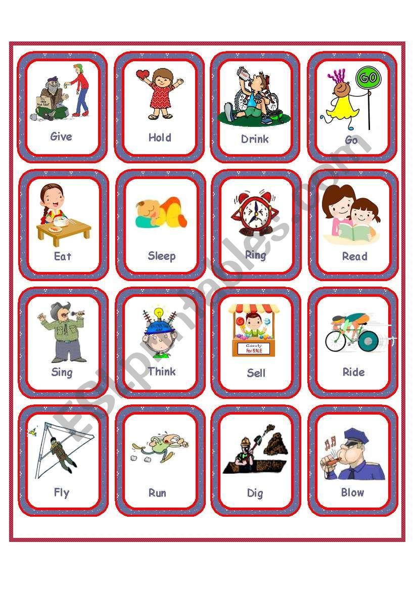 Flashcards - Irregular Verbs - Set 1 - Esl Worksheetanna P - Irregular Verbs Flashcards Printable Free