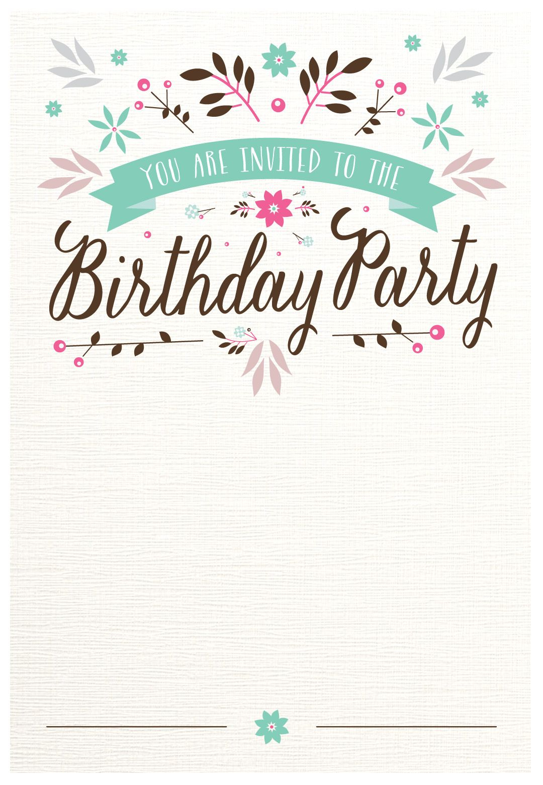 Flat Floral - Free Printable Birthday Invitation Template - Free Printable Invitations