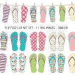 Flip Flop Printable Clipart   Free Printable Flip Flop Pattern