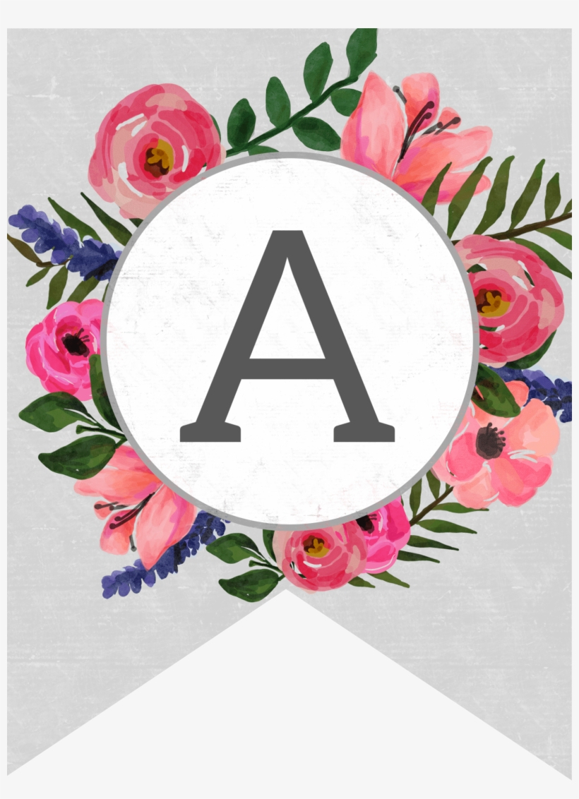 Floral Alphabet Banner Letters Free Printable - Free Printable - Free Printable Alphabet Letters For Banners