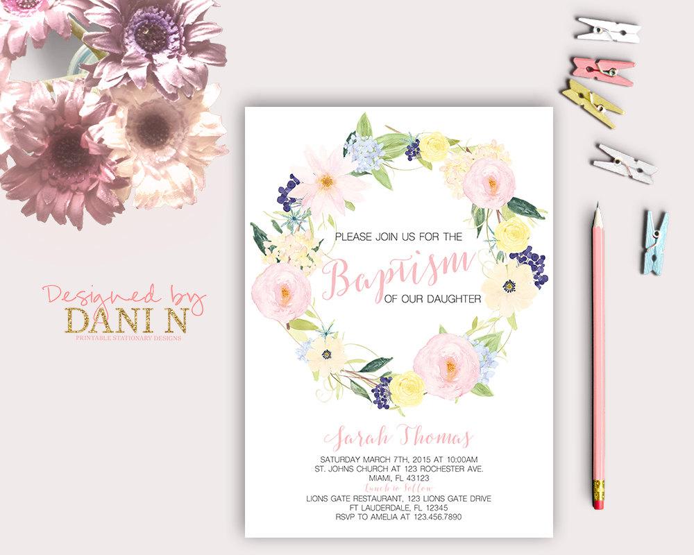 Floral Baptism Invitation Christening Catholic Baptism Girl | Etsy - Free Printable Personalized Baptism Invitations