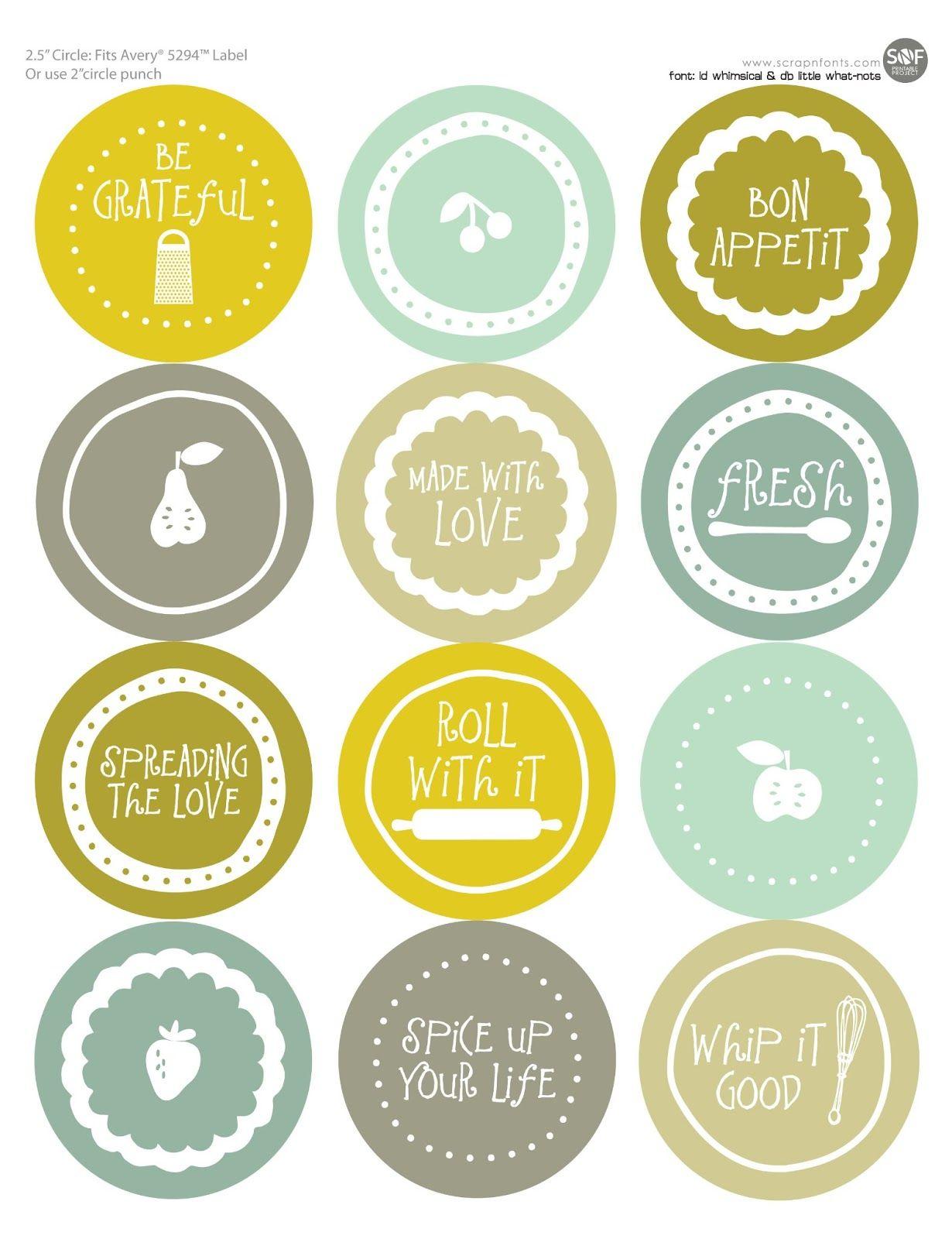 Fontaholic: Freebie Friday: Mason Jar Tops | Jars & Labels & Design - Free Printable Jar Label Templates
