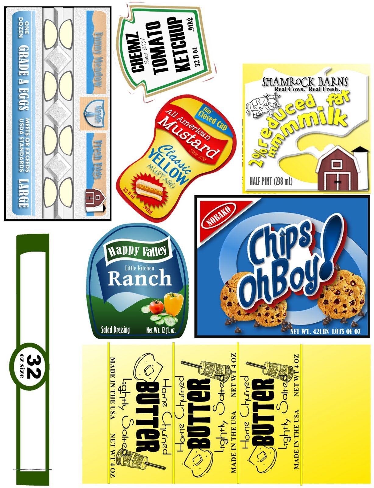 Food Label Printies | Printables | Miniaturas, Embalagens, Brinquedos - Free Printable Play Food Labels