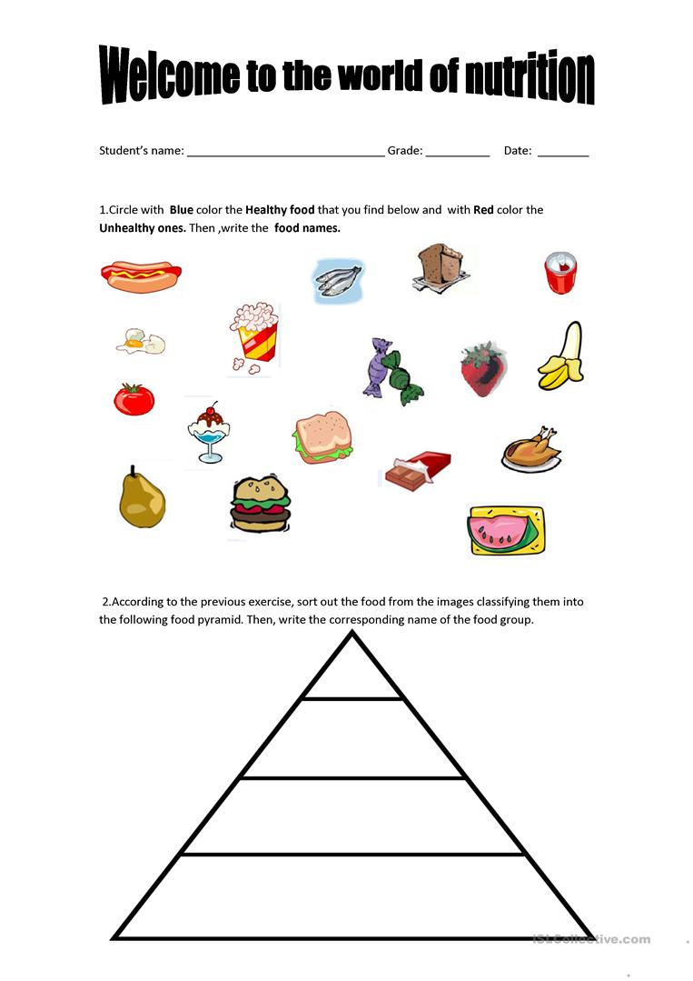Food Pyramid - Healthy And Unhealthy Food. Worksheet - Free Esl - Free Printable Healthy Eating Worksheets