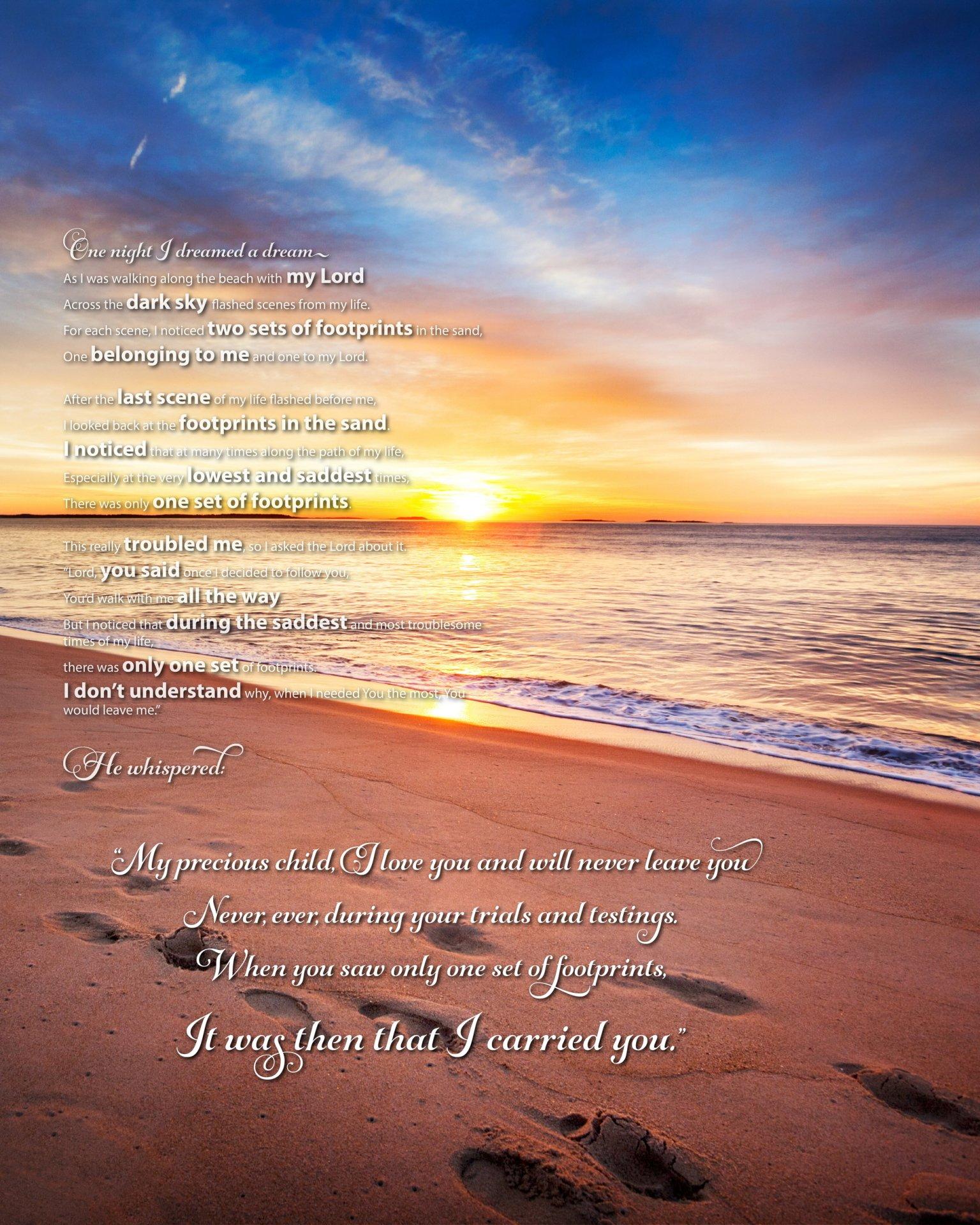 Footprints In The Sand Poem | Beautiful Poem From Only The Bible - Footprints In The Sand Printable Free