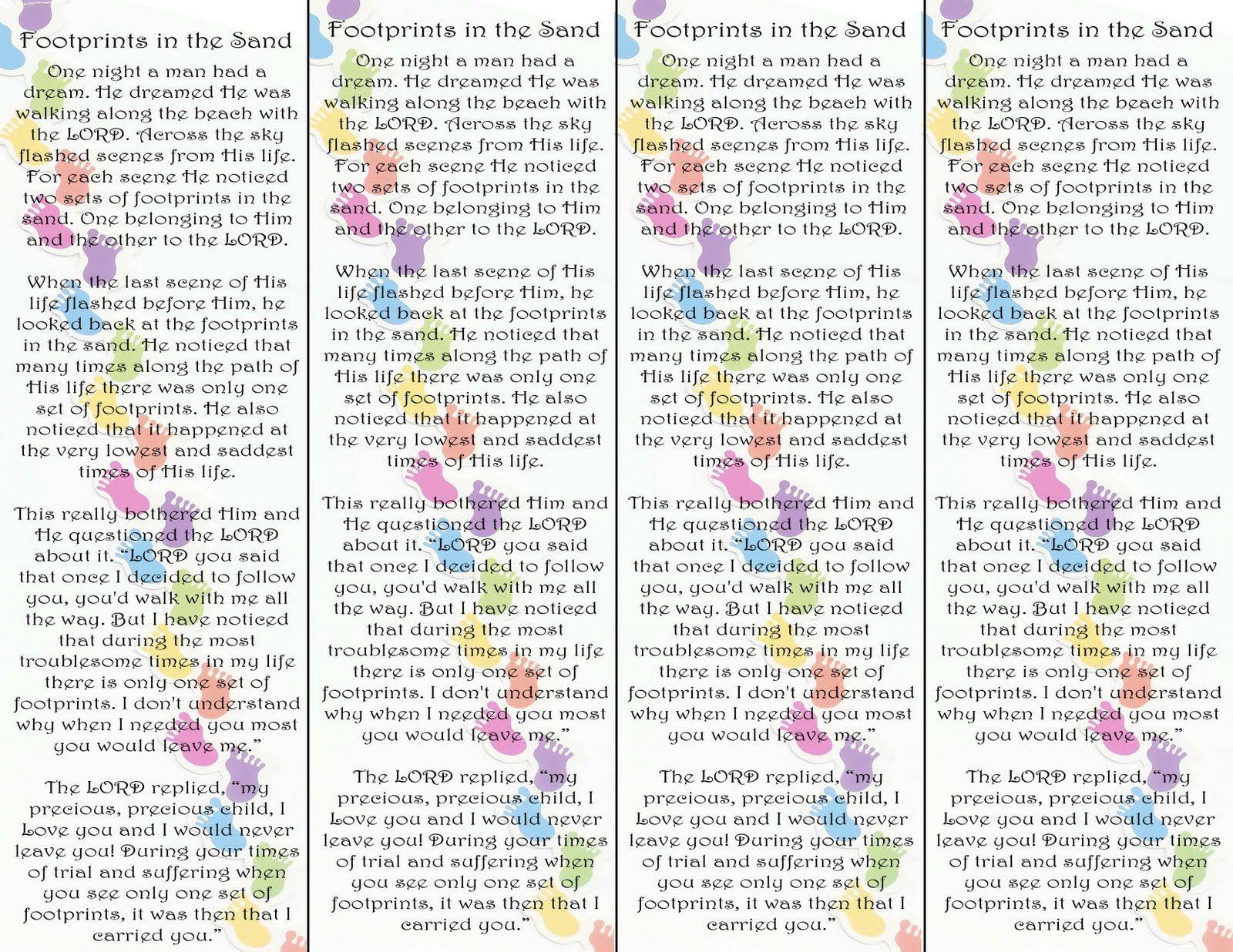 Footprints In The Sand Poem Bookmark Printable Version Visit The - Footprints In The Sand Printable Free