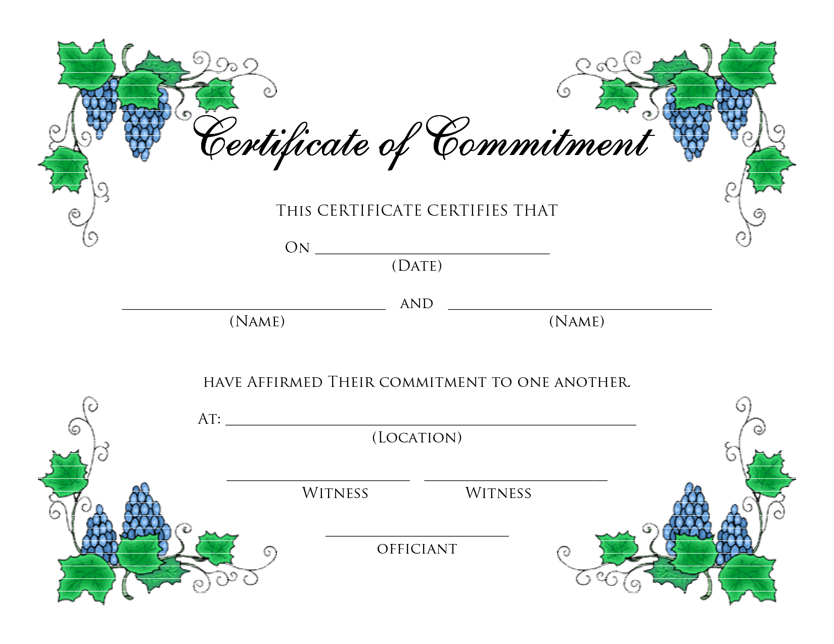 Format-Certificate-Templates-Formatted-For-Microsoft - Commitment Certificate Free Printable