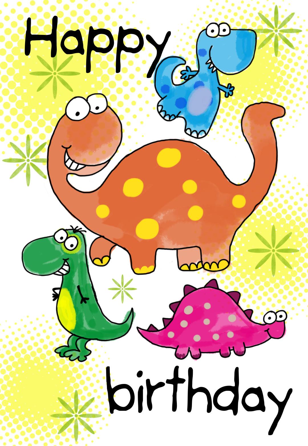 Four Cute Dinosaurs Birthday Card | Greetings Island - Free Printable Birthday Cards For Kids