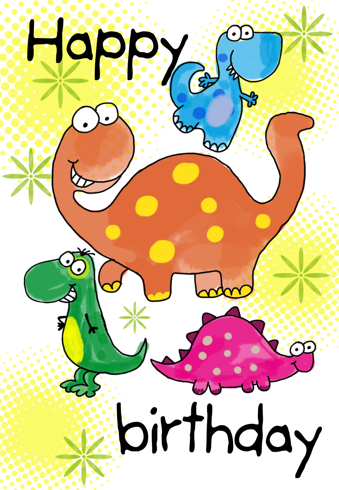 Four Cute Dinosaurs Birthday Card | Greetings Island - Free Printable Kids Birthday Cards Boys