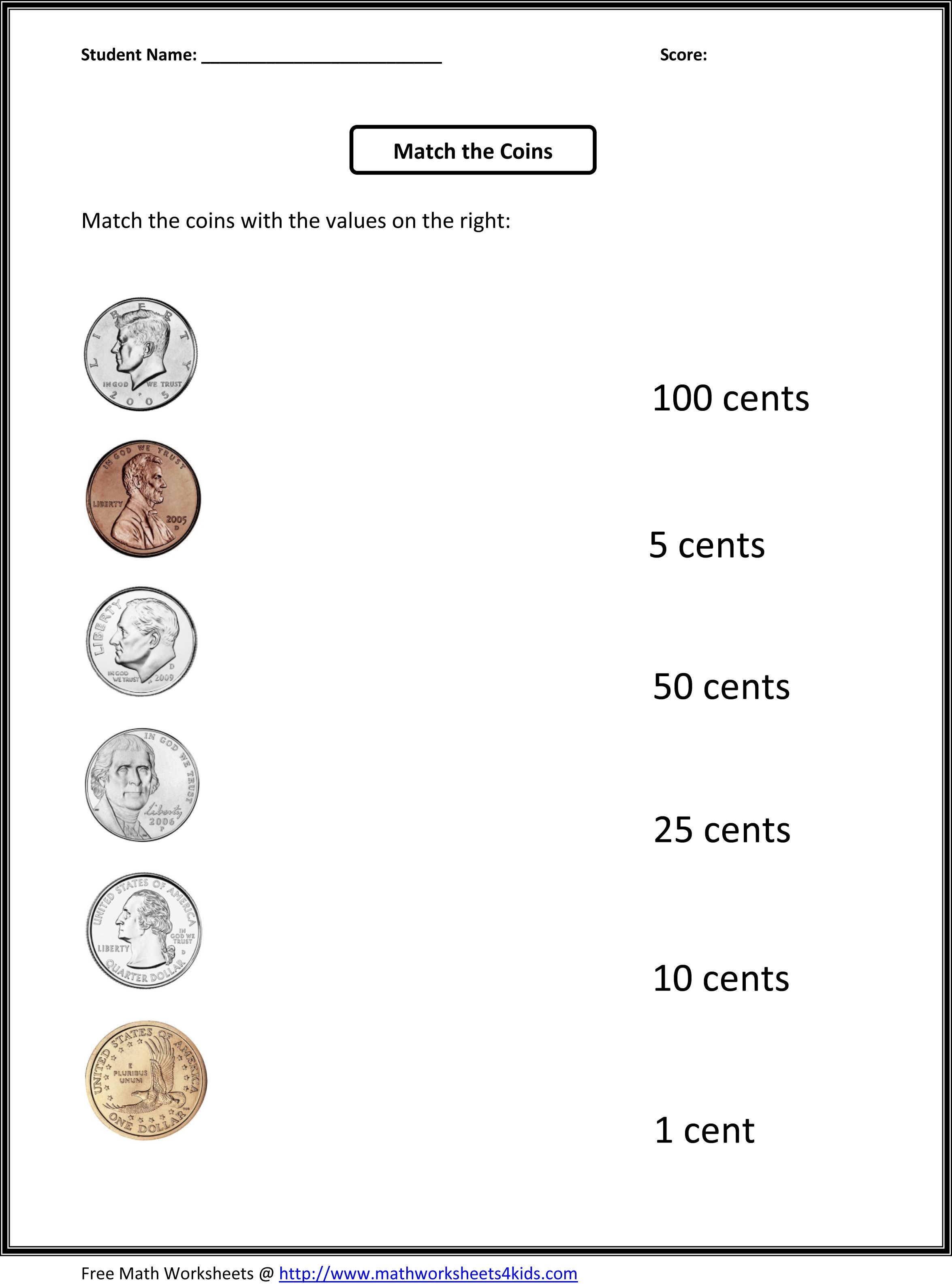 Free 1St Grade Worksheets | Match The Coins And Its Values - Free Printable Telling Time Worksheets For 1St Grade