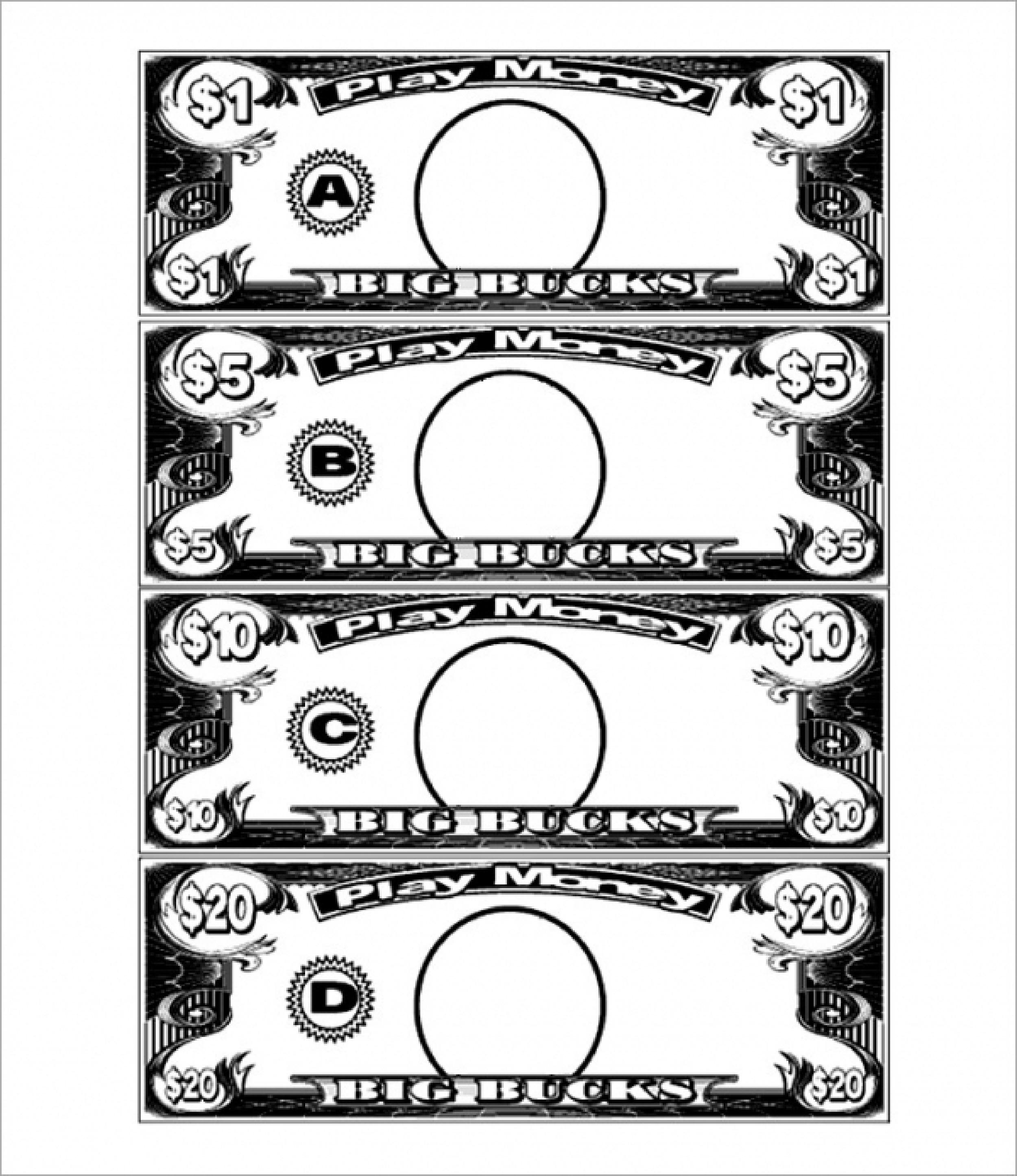 Free 20 Bucks Play Money Template | Templates At - Free Printable Play Money