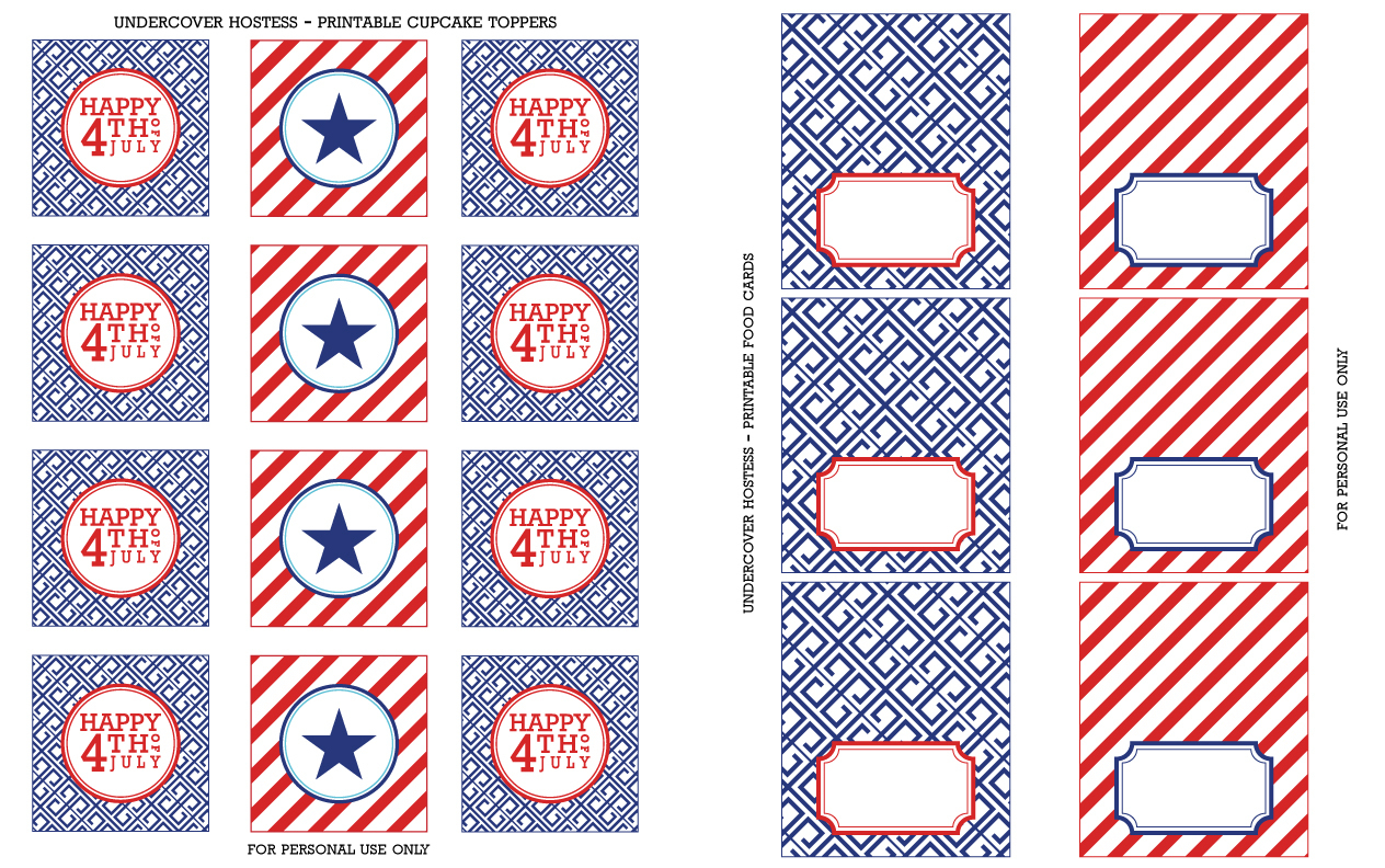 Free 4Th Of July Printables | Undercover Hostess - Free Printable Food Tent Cards