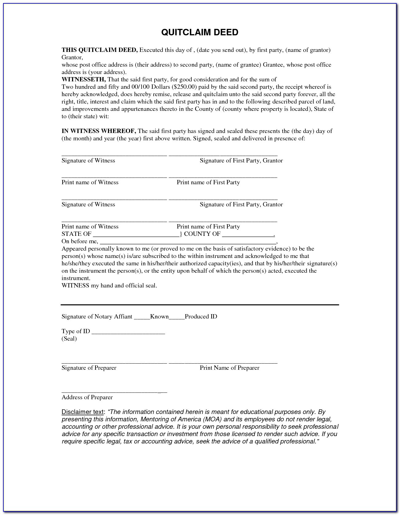 Free 5 Printable Quit Claim Deed Form Template Pdf Sample H ~ Vawebs - Free Printable Quit Claim Deed Washington State Form