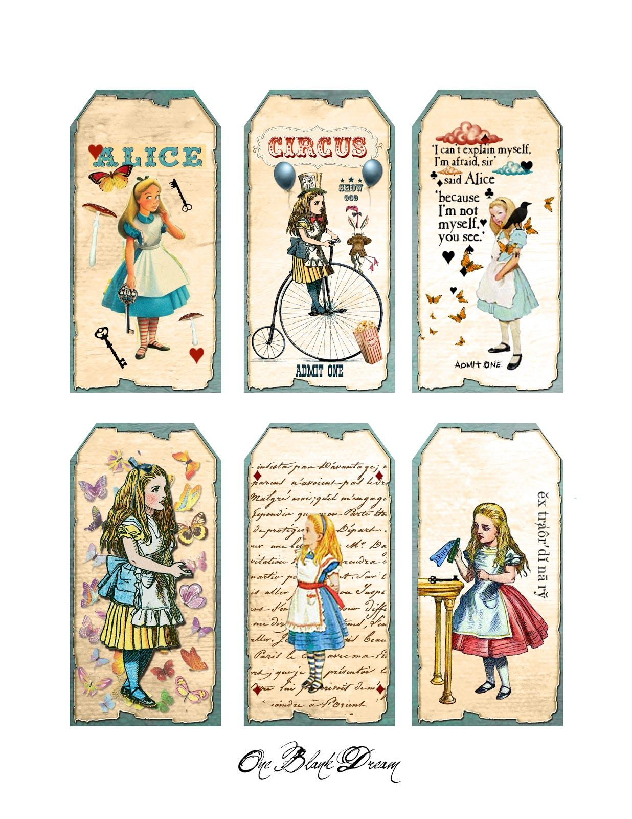 Free Alice In Wonderland Cutouts | Free Alice In Wonderland Tags - Alice In Wonderland Signs Free Printable