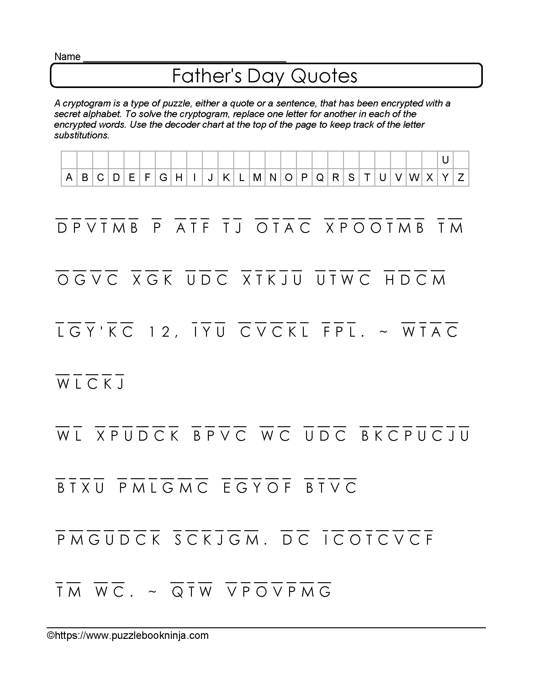 Free And Printable Father's Day Cryptogram. Quotes About Dad - Free Printable Cryptoquip Puzzles