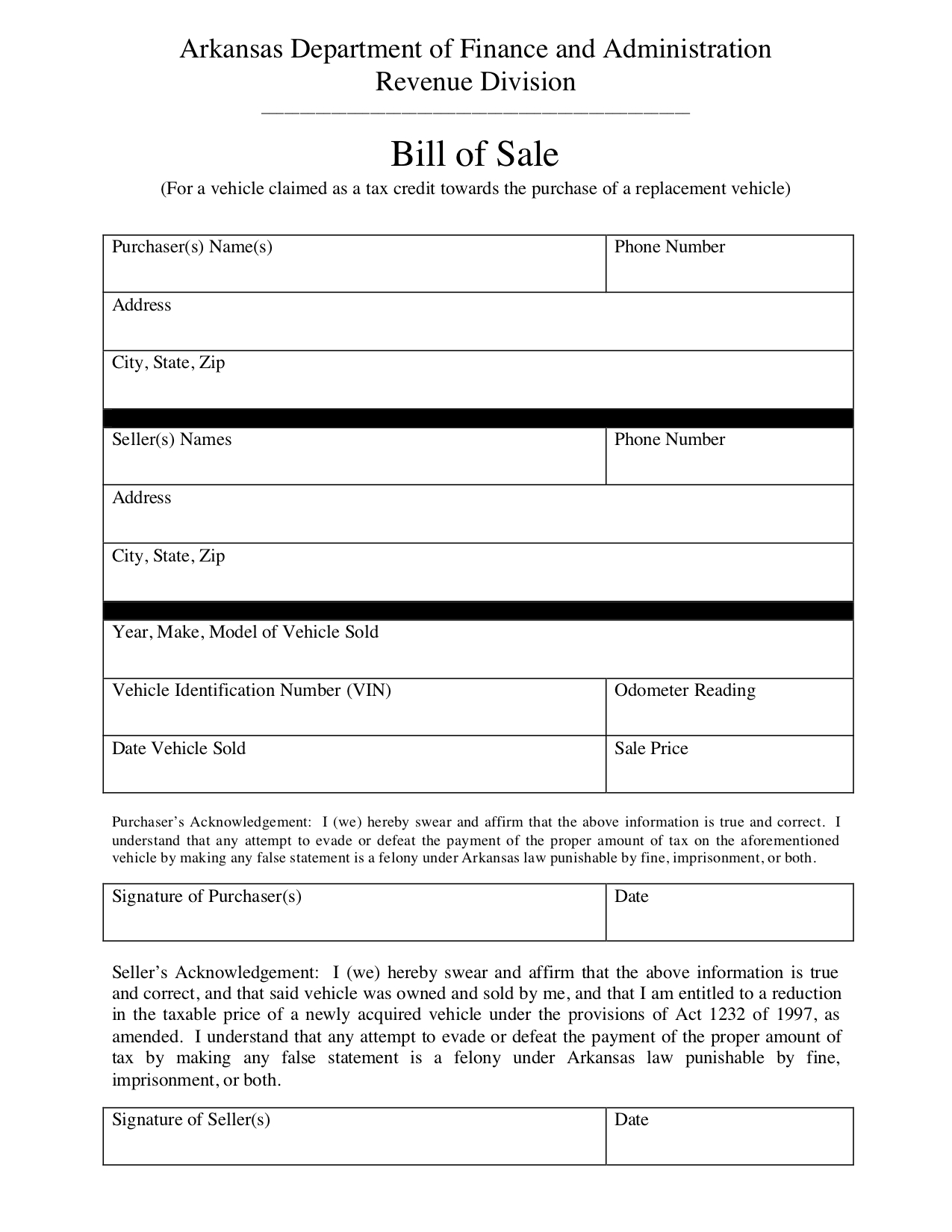 Free Arkansas Bill Of Sale Form - Pdf Template | Legaltemplates - Free Printable Blank Auto Bill Of Sale