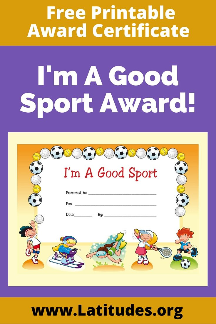 Free Award Certificate - I'm A Good Sport (Primary | Rewarding Good - Good Behaviour Certificates Free Printable