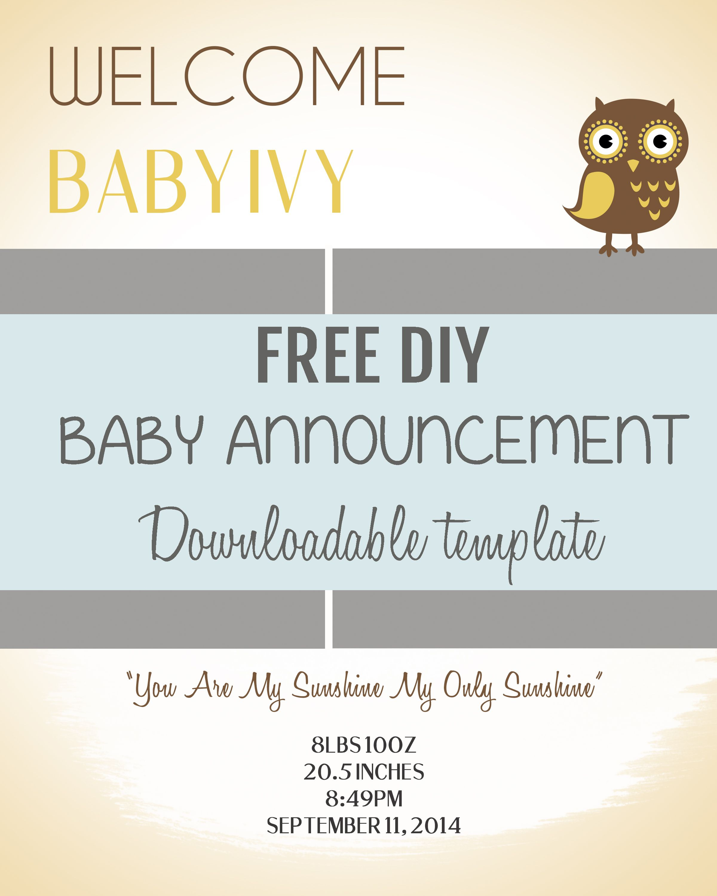 Free Baby Announcement Templates Printable Pregnancy Cards Best 25 - Free Printable Baby Birth Announcement Cards