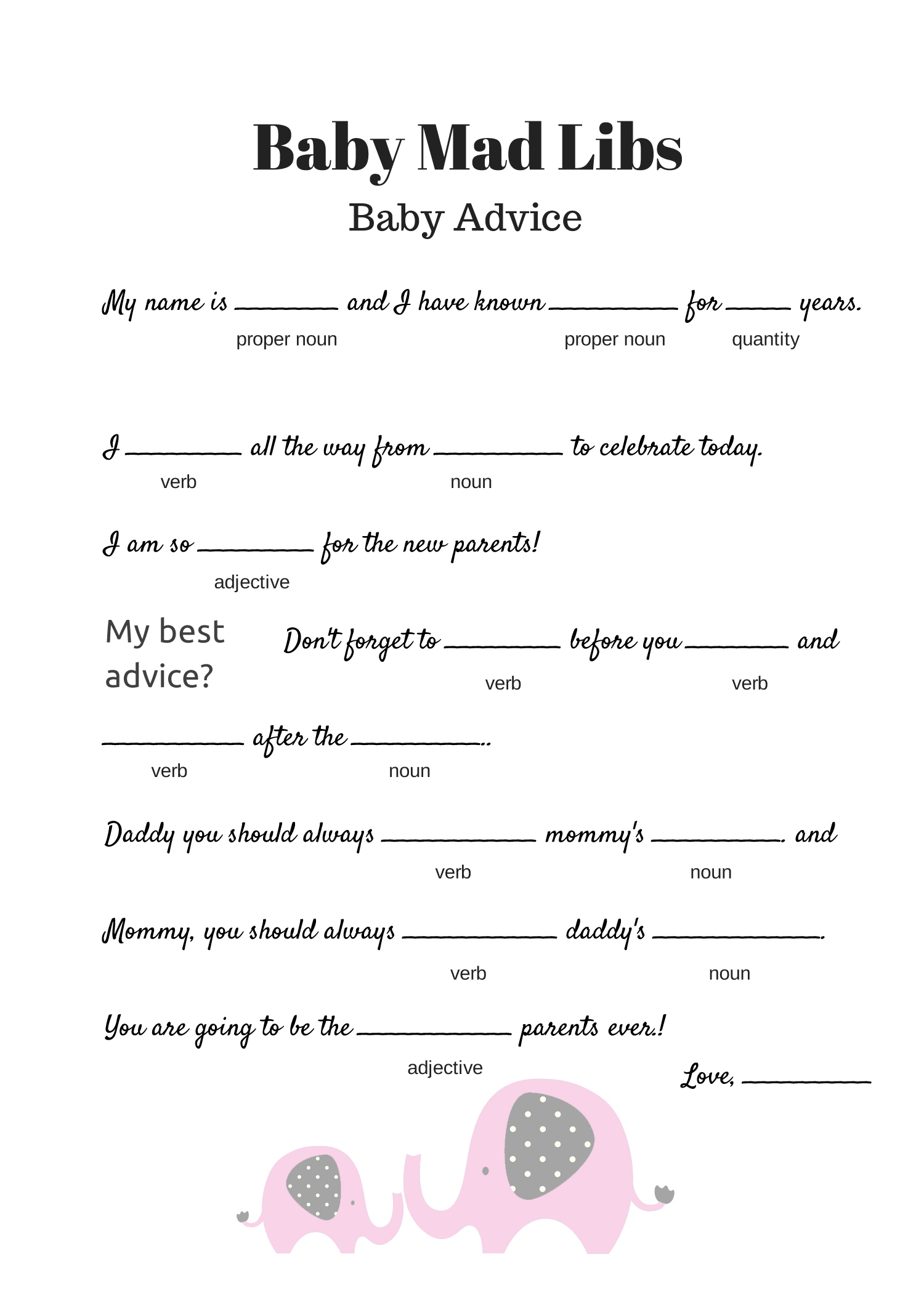 Free Baby Mad Libs Game - Baby Advice - Baby Shower Ideas - Themes - Free Printable Baby Shower Games With Answers