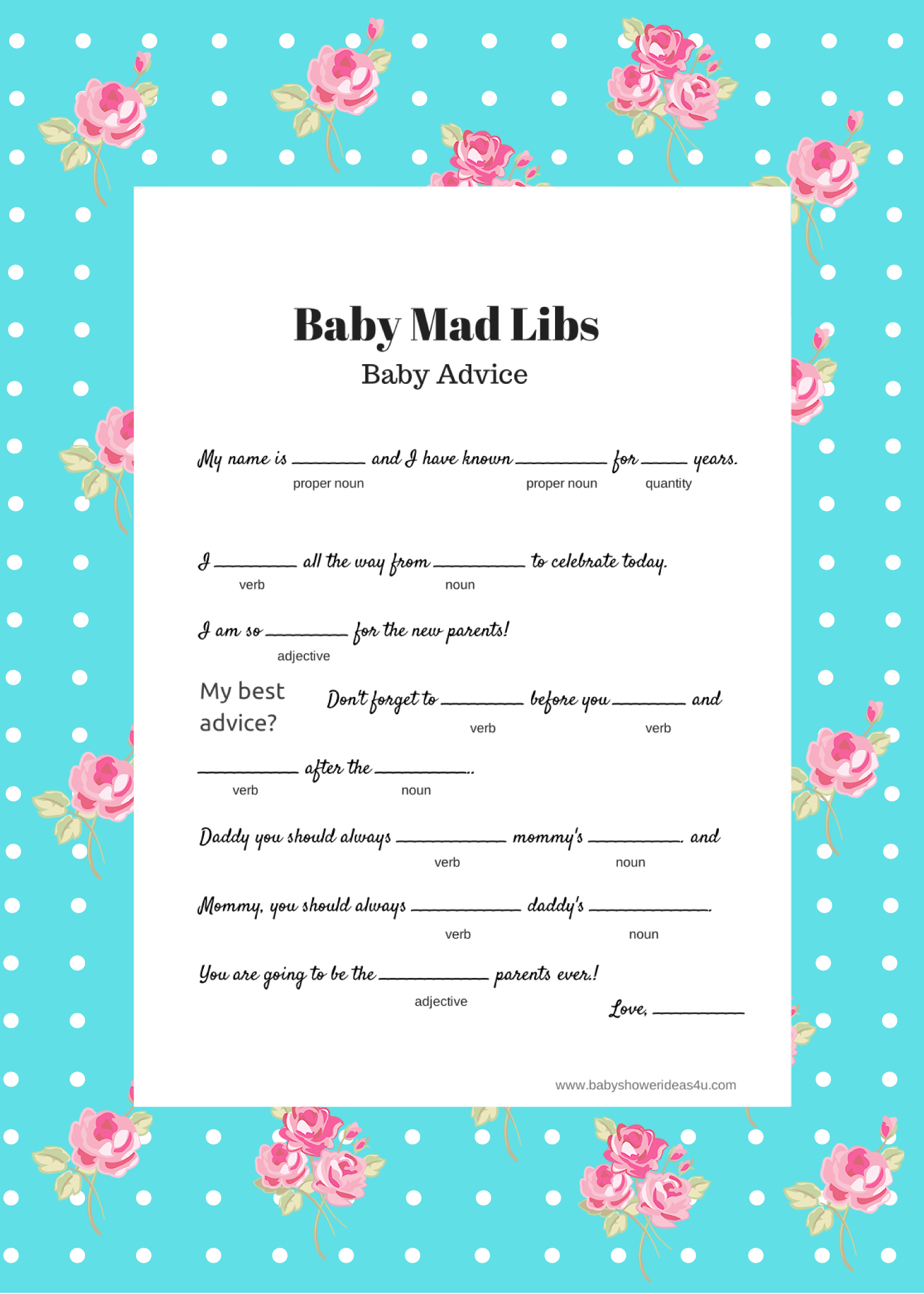 Free Baby Mad Libs Game - Baby Advice - Baby Shower Ideas - Themes - Free Printable Online Baby Shower Games