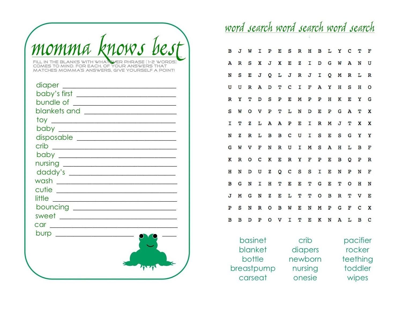 Free Baby Shower Games Printable Worksheets Cute Loving Boy Stuff - Free Baby Shower Games Printable Worksheets