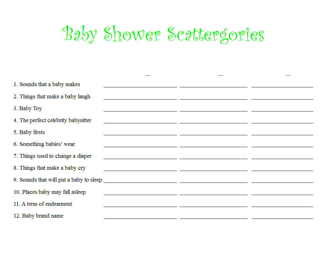 Free Baby Shower Scattergories Printable With Fill In Letters To - Scattergories Free Printable Sheets
