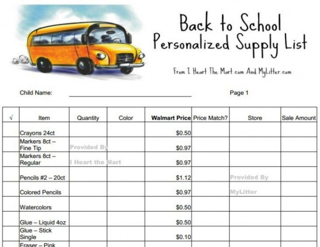 Free Back To School Supplies Printable Walmart List - Price Match At - Free Printable Coupons For School Supplies At Walmart