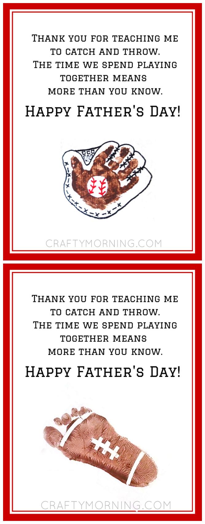 Free Baseball/football Father's Day Poem Printable - Great Gift - Free Printable Fathers Day Poems For Preschoolers