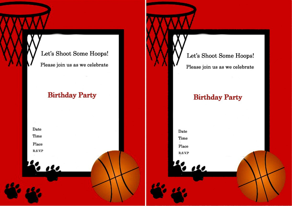 Free Basketball Birthday Invitation Templates Free Printable Themed - Basketball Invites Free Printable