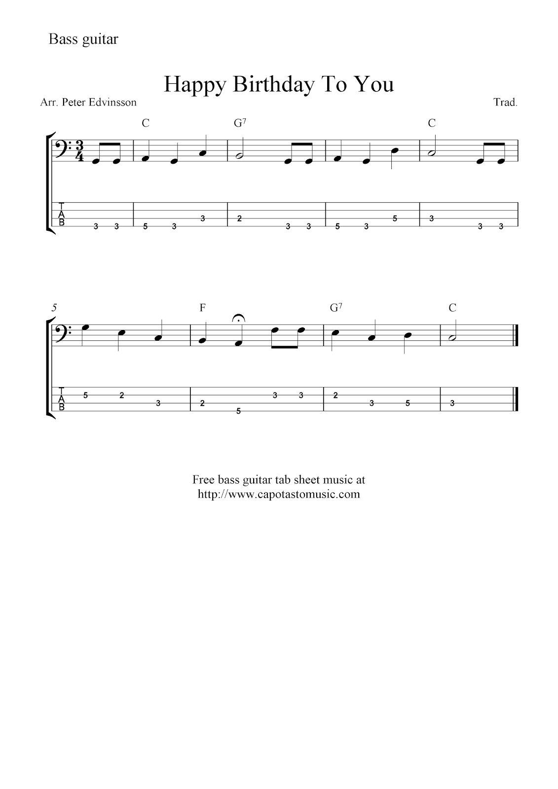 Free Bass Guitar Tab Sheet Music, Happy Birthday To You - Free Printable Guitar Music
