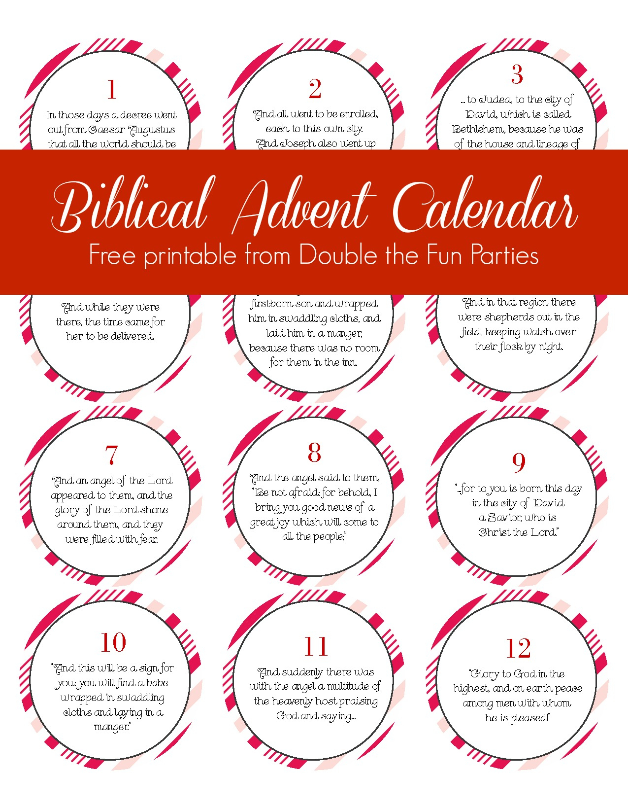 Free Biblical Advent Calendar Printable | The Party Teacher - Free Printable Nativity Story