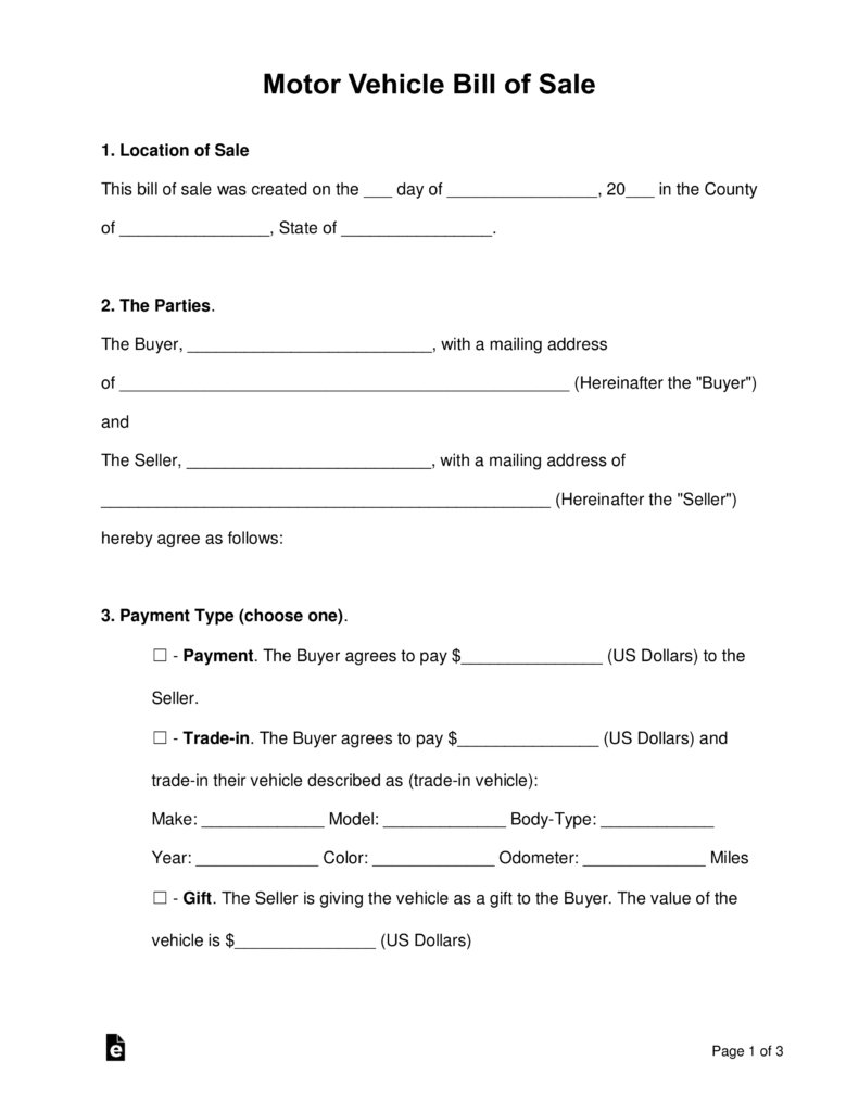 Free Bill Of Sale Forms - Pdf | Word | Eforms – Free Fillable Forms - Free Printable Bill Of Sale For Car