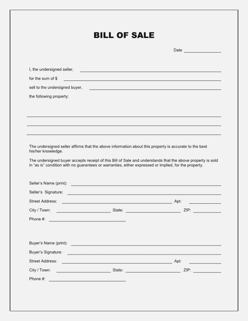 Free Bill Of Sale Template Printable Car Bill Of Sale Form - Free Printable Generic Bill Of Sale