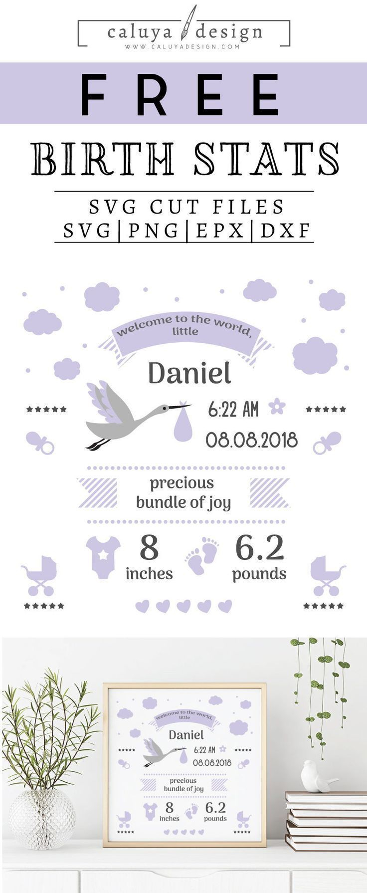 Free Birth Stats Board Svg, Png, Eps & Dxf| Free Svg & Png - Free Birth Announcements Printable