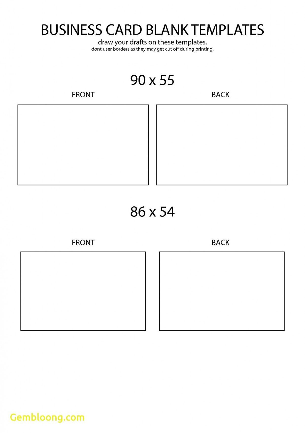 Free Blank Business Card Template Front And Back Design | Business - Free Printable Blank Business Cards