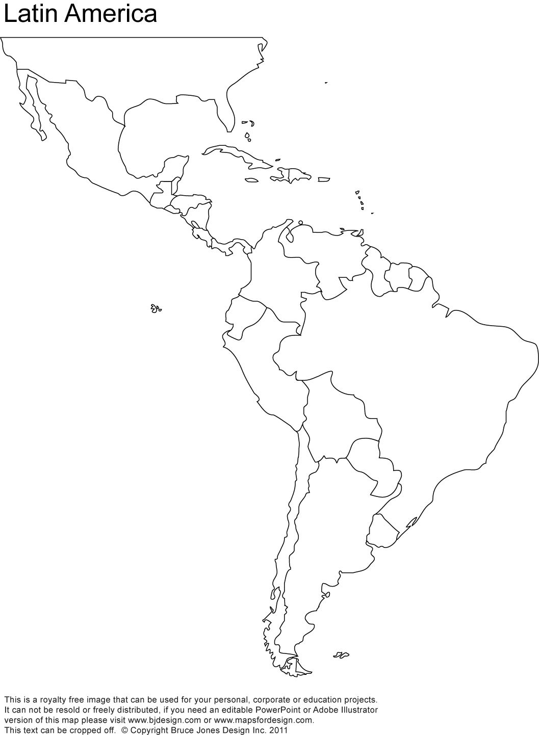 Free Blank Map Of North And South America | Latin America Printable - Free Printable Outline Map Of North America