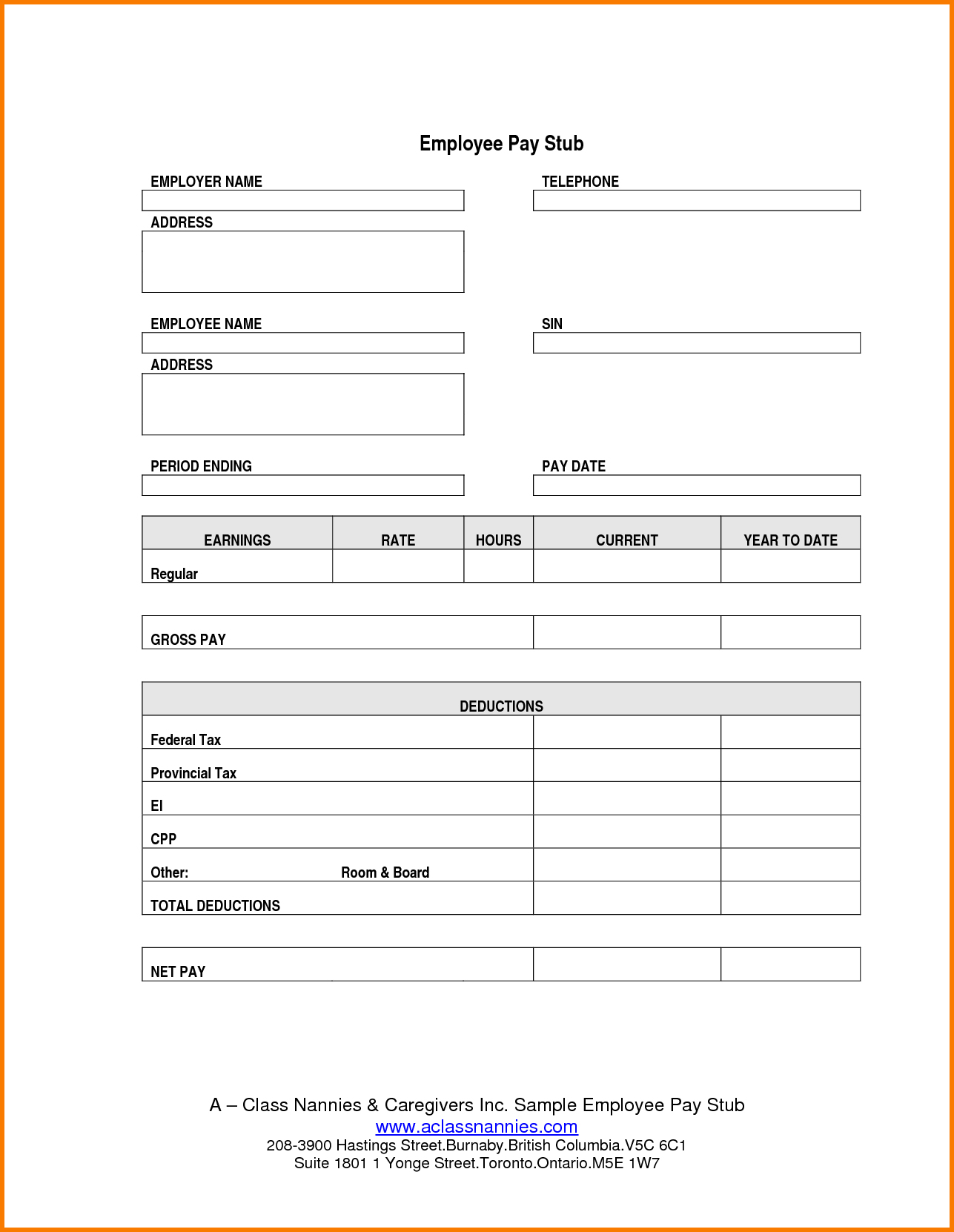 Free Blank Pay Stub Template Downloads With Printable Payroll Check - Free Printable Paycheck Stubs