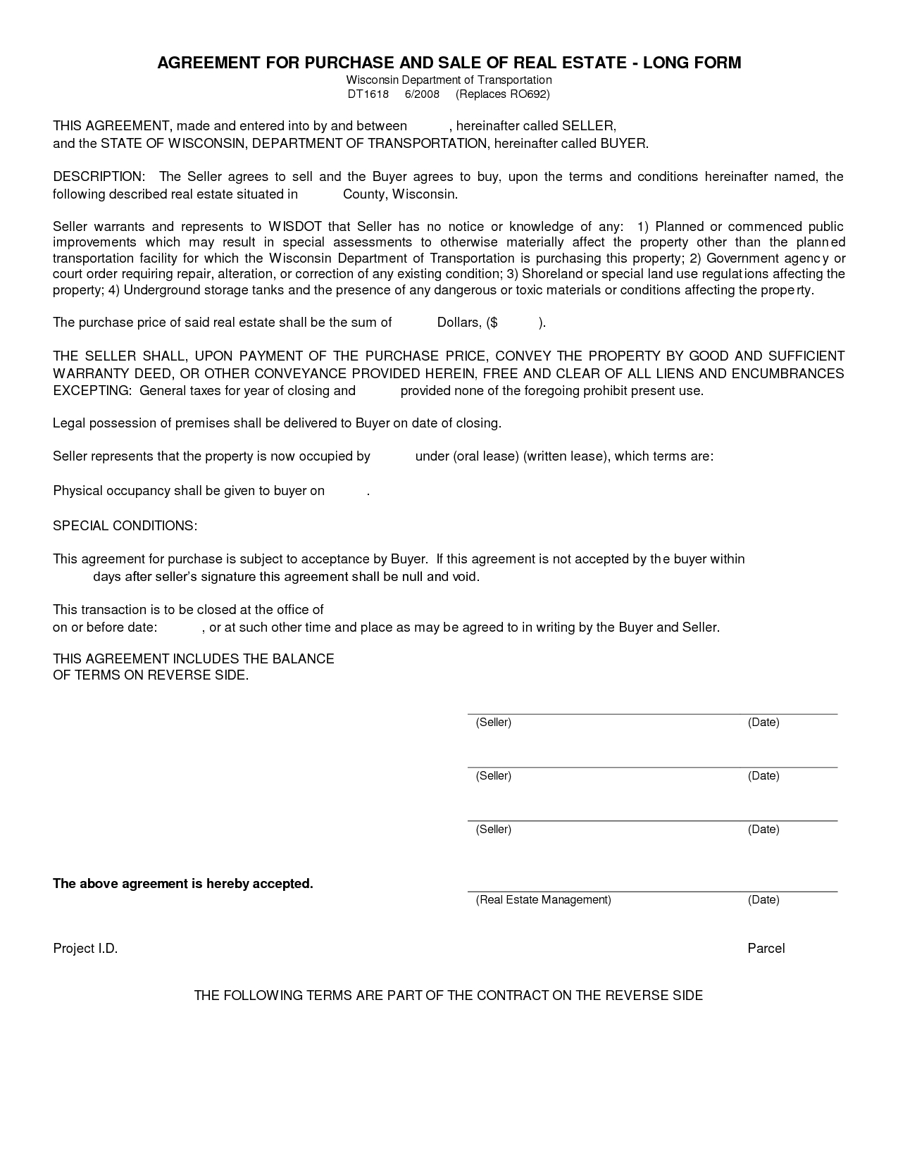 Free Blank Purchase Agreement Form Images - Agreement To Purchase - Free Printable Real Estate Forms